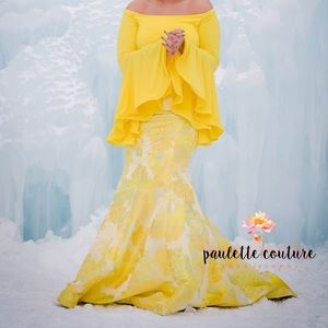 Two piece yellow jovani gown w/ matching earrings